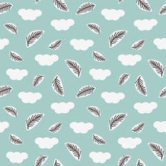 Seamless pattern with feathers and clouds. Vector illustration.