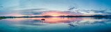 Aerial of an amazing sunset with sailing vessel Loch Creran, Barcaldine, Argyll