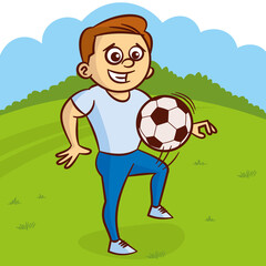 Young man plays with soccer ball outdoors