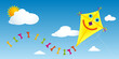 Yellow paper kite with happy face and tail with colorful bows flying in a blue sky with clouds - Vector image - 157295522