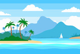 tropical island in the ocean summer landscape background