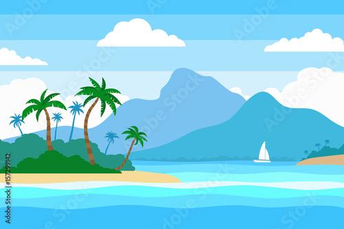 Foto op Aluminium Blauw tropical island in the ocean summer landscape background