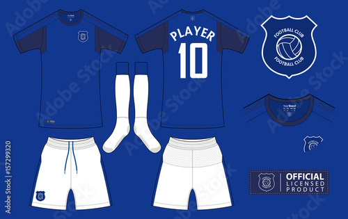 Set of soccer kit or football jersey template for football club. Short  sleeve football shirt 27acdb570