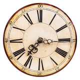 Old clock face with roman numbers - 157300941