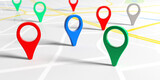 Colorful pointers on a map. 3d illustration - 157315532