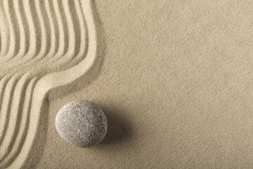 spa wellness and zen, relaxation and meditation concept for purity calmness peaceful harmony simplicity relax sand and stone texture background with lines and copyspace.. © kikkerdirk