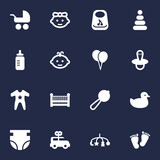 Set Of 16 Baby Icons Set.Collection Of Maraca, Milk, Baby And Other Elements.