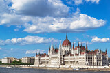Parliament Building and Danube River with Clouds, Budapest, Hungary