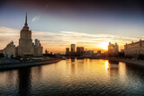 Beautiful cityscape, Moscow city and the river at sunset