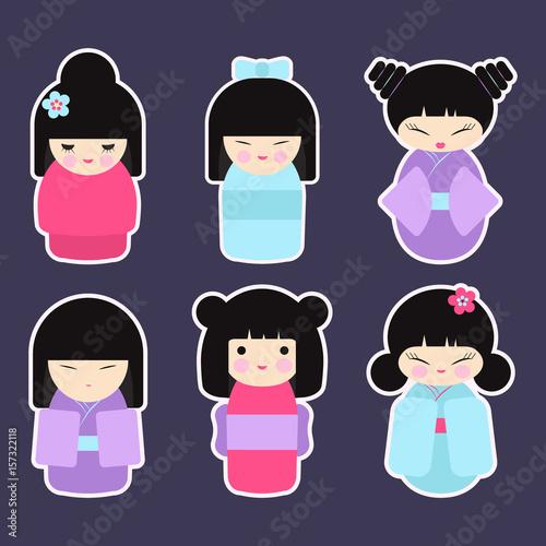 Kokeshi dolls vector icon set - 157322118