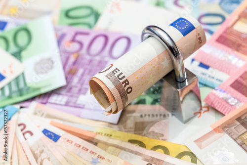 money security concept - euro banknote and padlock Poster