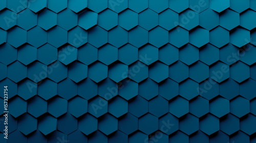 Abstract hexagon geometry background. 3d render of