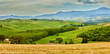 Panoramic view of  hills of Tuscany Italy in San Quirico d
