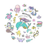Fototapety Under the sea - little mermaid, fishes, sea animals and starfish, vector collection