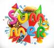 Summer holiday set. Summer beach 3d vector icon