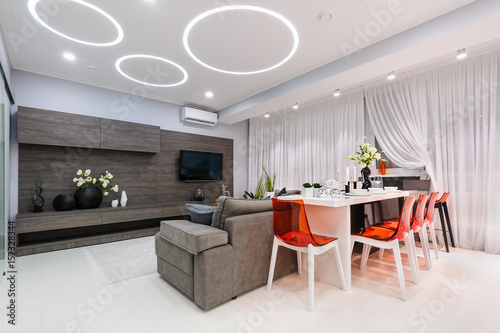 Modern white living room with dining table Poster