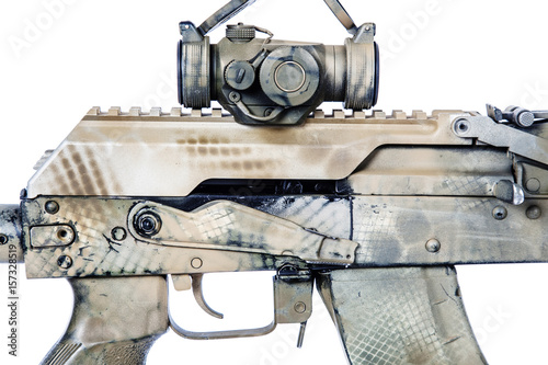 Poster Close-up shot of Kalashnikov rifle receiver cover with collimator, automatic weapons isolated on white background