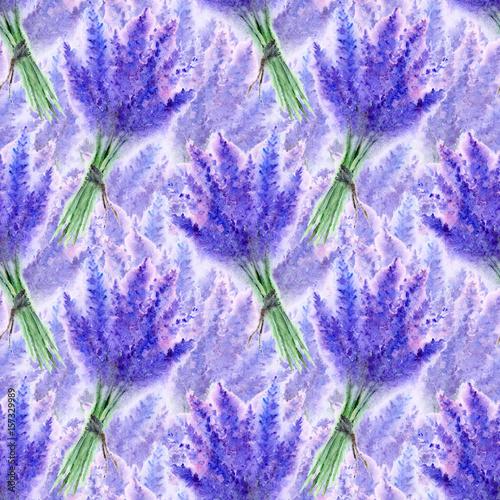 Watercolor lavender flower floral bouquet seamless pattern texture background © Silmairel