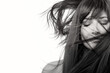 Brunette beauty model with healthy long hair