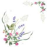 Delicate summer border with flowers and leaves of clover, lavender, strawberry and herbs. Hand drawn watercolor painting.