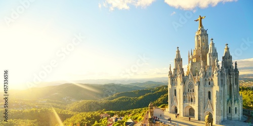 Fotobehang Barcelona Temple Sacred Heart of Jesus on Tibidabo in Barcelona in Spain.
