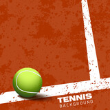 Tennis ball on court vector illustration background