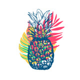 Fototapety Vector hand drawn pineapple with tropical leaves on white background. Exotic tropical fruit. Sketch. Pop art. Goods for invitations, greeting cards, posters.