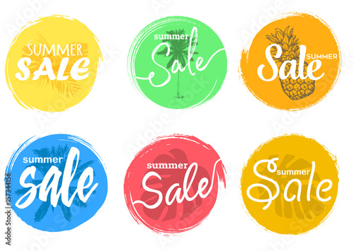 summer sale hand drawn lettering set of colorful universal use