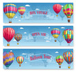 Vector banners for hot air balloon tourism voyage