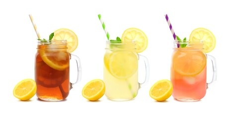 Three mason jar glasses of summer iced tea, lemonade, and pink lemonade drinks isolated on a white background