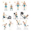 Gym exercises machines sports equipment. Vector Illustration.