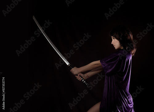 beautiful sexy woman with samurai sword. sexy woman with katana Poster