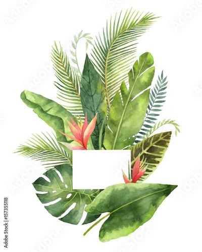 tropische-blatter-und-niederlassungen-des-aquarellblumenstrauses-lokalisiert-auf-weisem-hintergrund