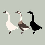 goose vector illustration style Flat set silhouette - 157360161