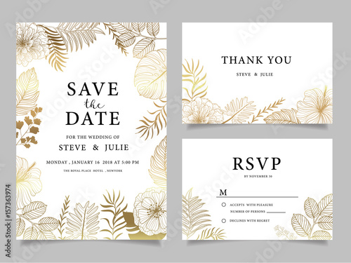 wedding invitation card with  flower Templates - 157363974