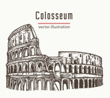 Coliseum in Rome, Italy vector. Colosseum hand drawn illustration - 157366392