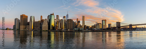 The Skyline of New York City through the sunrise Poster