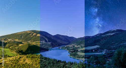 day to night mountain lake landscape panorama