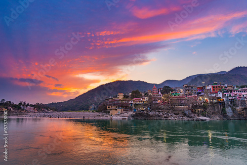 Plagát Dusk time at Rishikesh, holy town and travel destination in India