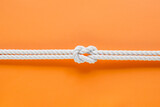 White ship ropes connected by reef knot - 157385926