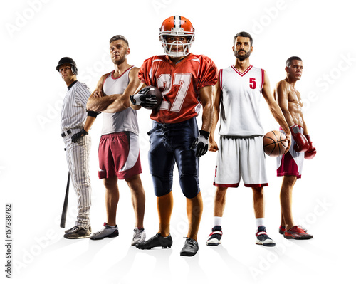 Póster Multi sport collage boxing baseball american football volleyball bascketball