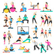 People Yoga Gymnastics Aerobics Set