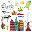 Holland Netherlands Travel Icon Set