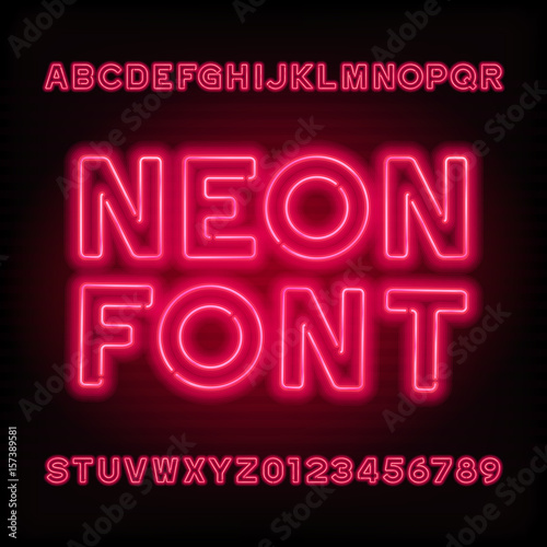 Neon tube alphabet font. Red color type letters and numbers. Vector typeface for headlines, posters, etc.