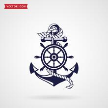 Anchor And Steering Wheel  Design Element Sticker