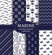 Materiał do szycia Sea and nautical seamless patterns set.