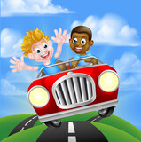 Cartoon Boy Children Driving Car