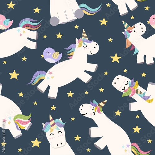 Cotton fabric Cute unicorn flying in the sky seamless pattern. Vector illustration