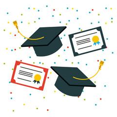student graduate flat icon vector illustration design graphic