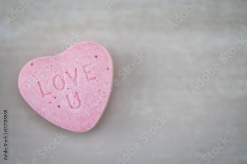 Foto op Canvas Lichtroze Candy Heart Love U with Copy Space Right